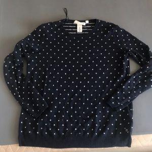 Navy blue polka dot sweater
